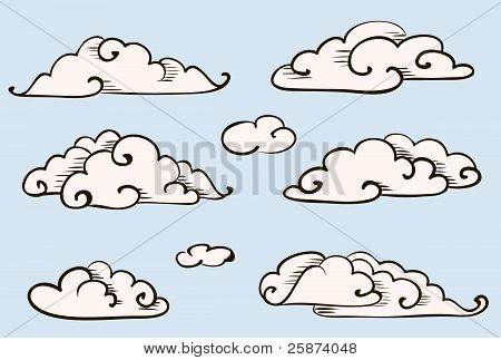 Clouds Set, Vintage Vector Stylized Drawing
