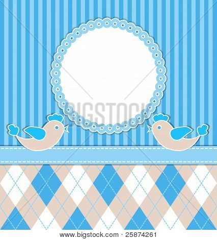 Baby Boy Card With Birds