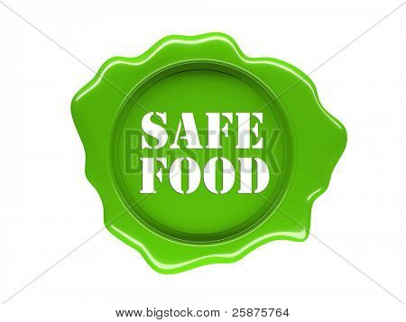 3d green seal of safe food label