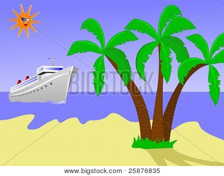 An illustration of a cruise ship sailing toward a desert island with palms against a blue sky with a smiling sun