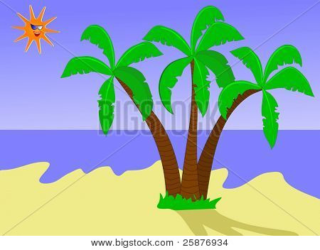 A tropical beach illustration with palms on a sandy beach with a laughing sun wearing sun glasses