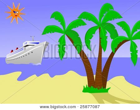 A vector illustration of a cruise ship sailing towards a desert island with palm trees and a golden sandy beach