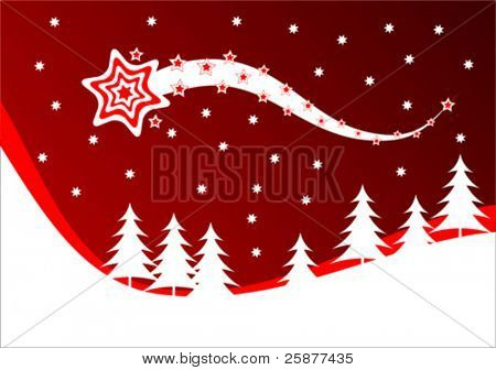 A vector christmas background illustration with a shooting star above a snow covered hillside