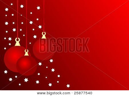 A christmas background illustration with three red highlighted baubles on a deep red base with white stars, room for text