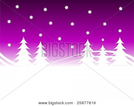 A christmas winter background illustration with a purple starry sky over a white tree lined snowy hill