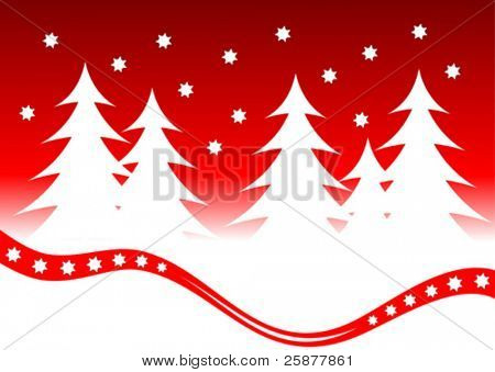 A christmas background vector illustration with a snowy christmas scene with white trees on a snow covered foreground with a red swish