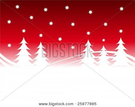 An abstract christmas vector background illustration with a red starry sky over a white tree lined snowy foreground with room for text
