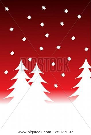 a vector snowy winter scene with white christmas trees on a snowy foreground with a graduated red starry sky
