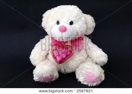 Teddy Bear With Chocolate In A Heart Container. Valentin/ Birthday Gift
