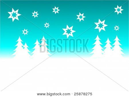 a cyan vector christmas background illustration with a blue starry sky over a white tree lined snowy hill