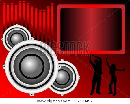 a vector background illustration with a group of musical speakers on a red background with a text box and graphic equaliser and silhouetted dancers, useful for party invitation