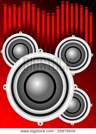 A musical background illustration with a series of audio speakers on a red background with graphic equalizer sound bars