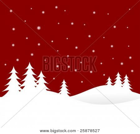 A winter vector background illustration with white trees on snowy hills with a red starry evening sky with room for text