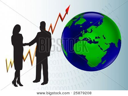 A business man and woman in silhouette shaking hands in front of a graph showing a year on year and a map of the world