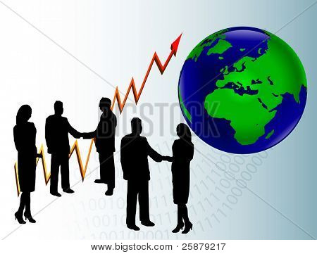 A group of business people in silhouette shaking hands in front of a graph showing a year on year and a map of the world