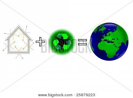 A global warming vector illustration showing that energy efficiency plus recycling keeps a healthy green earth