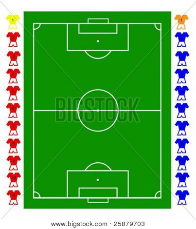 A football, soccer pitch tactical vector with two teams of footballers and a pitch representation. All elements are fully resizable to any dimension without loss of quality