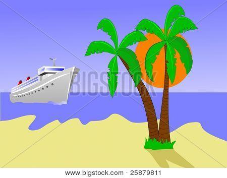 An illustration of a cruise ship sailing toward a desert island with palms against a blue sky with an orange sun