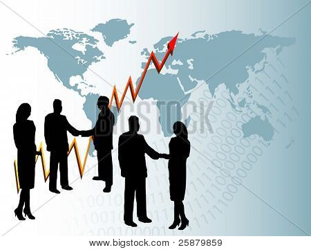 A group of business people in silhouette shaking hands in front of a graph showing year on year growth and a map of the world
