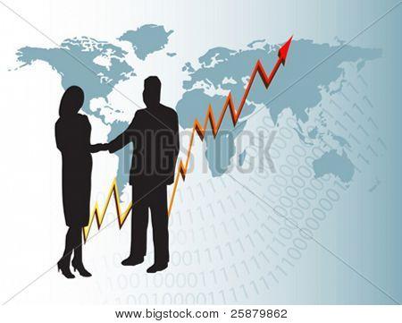 Un hombre de negocios de vector y una mujer en silueta estrecharme la mano en frente de un año de mostrar gráfico en vosotros