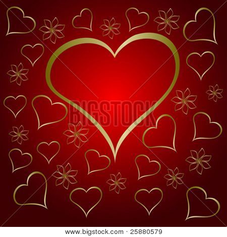 A  red valentines vector illustration with a large  heart shaped frame surrounded by small gold hearts and flowers with room for text