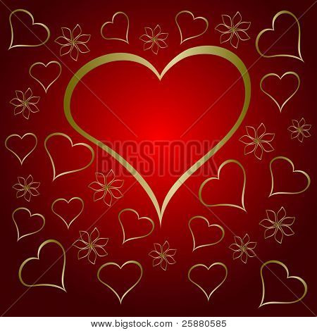 A  red valentines  illustration with a large  heart shaped frame surrounded by small gold hearts and flowers with room for text