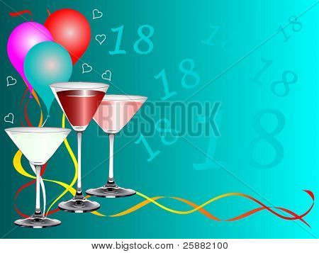 An eighteenth birthday party background template with drinks glasses and balloons