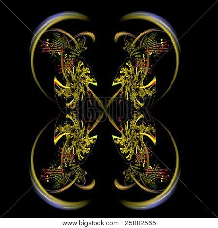 An abstract yellow and orange reflection fractal background illustration on a black base with room for text