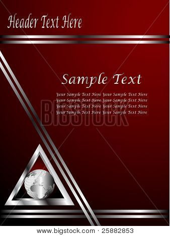 A deep red and Silver  vector Business card or Background Template with a world globe enclosed by a silver triangle