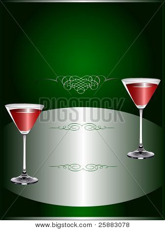 A Drinks Menu Template with wine glasses on a dark green and silver background