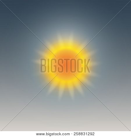 poster of Weather Icon, Sunny, Sun Halo. Vector Illustration.