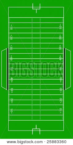 Scale Illustration of an American football field. The illustration can be scaled to any dimension without loss of quality