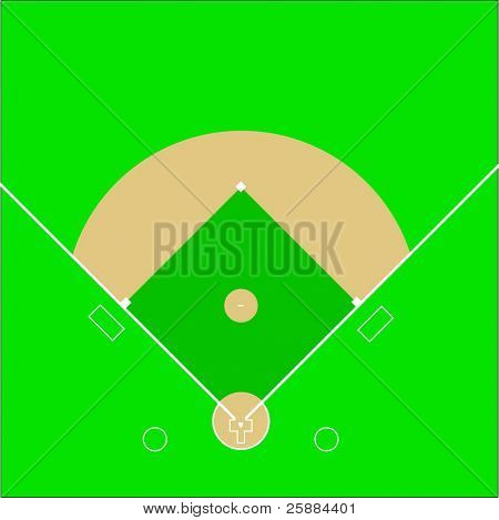 A scale representation of a baseball diamond field