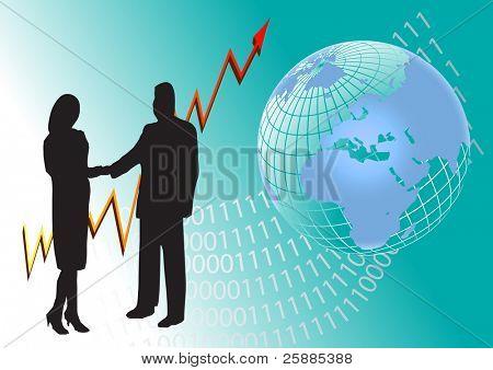 ein Business Man and Woman silhouette Händeschütteln vor der eine Grafik ein Jahr für Jahr und