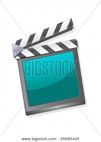 A film clapperboard with a blue screen isolated on white