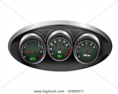 a set of three car dials with speedometer,rev counter and petrol and temperature gauge