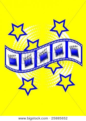 A film strip with clapperboard images in shades of yellow and blue
