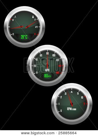 a vector set of three car dials with speedometer,rev counter and petrol and temperature gauge