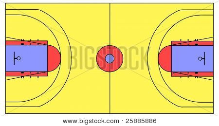 An exact scale vector basketball court illustration with NBA, NCAA and FIBA lines. can be scaled to any dimension without loss of quality