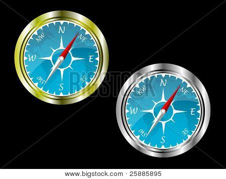 Two compasses in gold and silver with a blue insert with a map of the world isolated on a black background saved on EPS 10 format