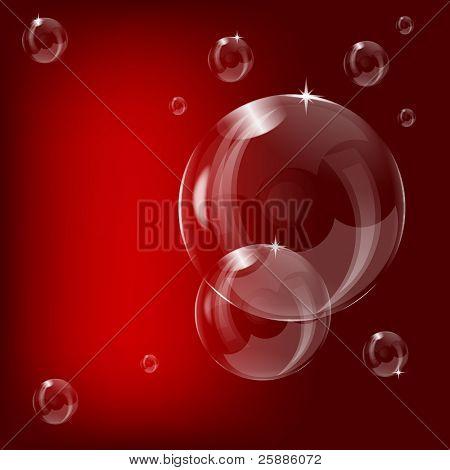 ein transparenter Seifenblase Design auf einem roten Hintergrunddesign mit Platz für text