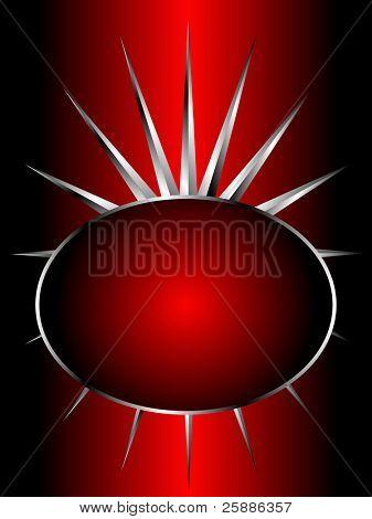 Una ilustración de fondo de vector de plata con un diseño plata recargado en un backgdrop rojo con texto bo