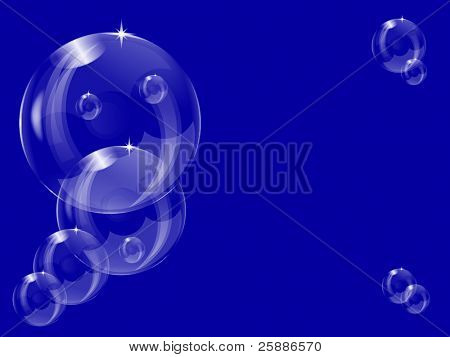 A series of transparent bubbles floating into the distance on a dark red  background