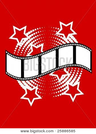 Photographic vector illustration with film strip on a red background with white stars