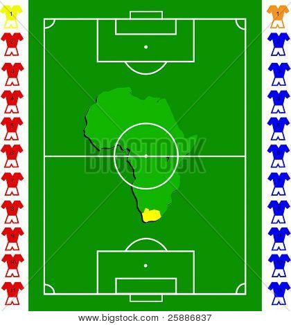 A soccer or football tactical vector  exact scale pitch with a map of africa in the centre