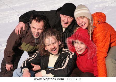 Friends On Winter Snow