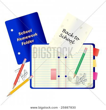 A back to school or education concept vector with notepad and other school stationary isolated on white