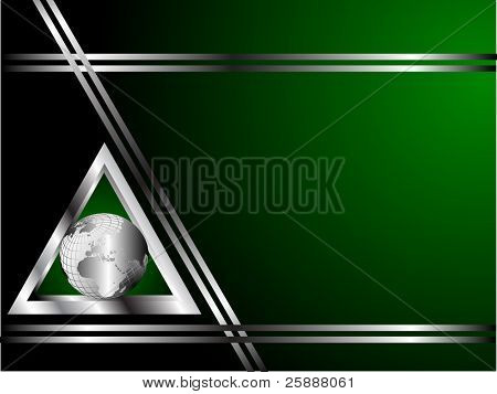 An abstract business card vector with a silver globe in a triangle shape with room for text