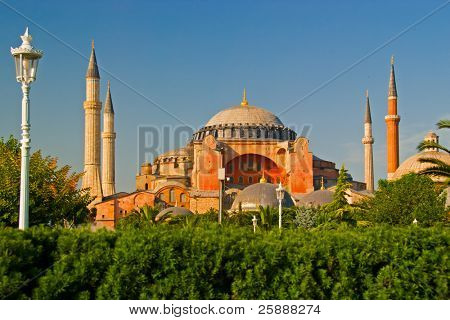 Hagia Sofia and Garden in Istanbul