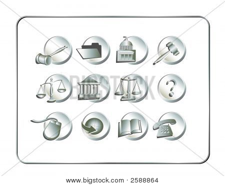 Legal Icon Set Silver